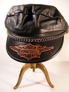 http://vintage Harley Davidson photo | Harley Davidson Biker Hat Cap Leather Vintage by megsantiques