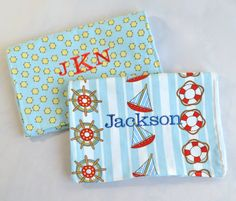 Personalized Baby Boy Burp Cloths - Monogrammed Baby Gift - Nautical Ships. $25.00, via Etsy.