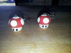 1 Pair(2) Super Mario Brothers Red Mushroom Custom Poly Clay Earrings.. $5.00, via Etsy.