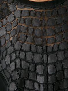 HELMUT LANG - Black lamb skin patchwork top A quilt – that comes with a Textile Manipulation, Fabric Manipulation Techniques, Textile Texture, Fabric Textures, Textile Art, Couture Details, Fashion Details, Helmut Lang, Fabric Art