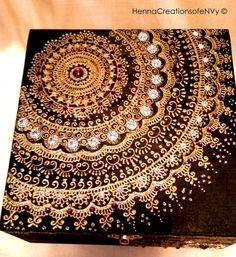 Midnight Black Mandala Keepsake Jewelry Box, Hand- Painted with Gemstones, Henna Inspired design. This box is solid wood and inlaid with a foam cushion which is overlaid with either felt or satin as per your choice. **ALL Boxes are shipped with a set of corresponding replacement