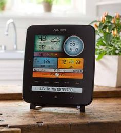 Become your own expert meteorologist with this full-feature Weather Station with Lightning Detection. The illuminated color screen with auto-dimming f … Weather Instruments, Charitable Donations, Counter Display, Wind And Rain, Wind Spinners, Lightning Strikes, New Product, Remote, Color