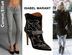 Kate Moss'  Isabel Marant Milwaukee Studded Boots And Current/Elliott Stiletto Jeans