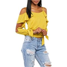 Women Robinson Off Shoulder Shirt Bowknot Frills Tops Party Style Ruffles Blouse 2XL * Be sure to check out this awesome product.Note:It is affiliate link to Amazon.