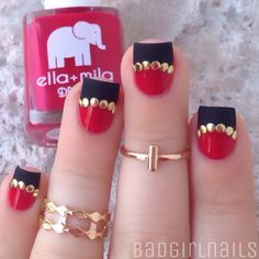"""Matte meets glossy studded half-moon mani featuring @ellamilapolish """"Bad Obsession"""" (classic red) and """"Matte-ly In Love"""" topcoat which I used on my black tips Rings are from @charlotterusse✨ Tutorial coming later today"""