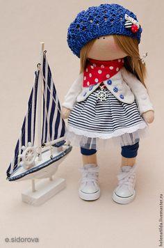 Купить Морская девочка Amalia+кораблик. - море, морская тематика, морской интерьер, текстильная кукла, подарок