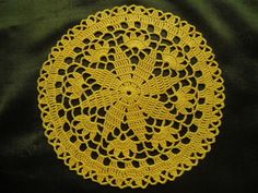Handmade crochet doily color - yellow 100 % - cotton size - 6 inches ( 17 cm . ) in diameter