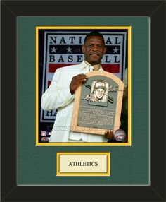 One framed 8 x 10 inch Oakland Athletics photo of Rickey Henderson with a customizable nameplate*, double matted in team colors to 11 x 14 inches.  $49.99  @ ArtandMore.com