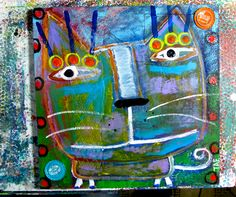 """Portrait Of a Street Cat #2"" original cat painting on wood:Tracey Ann Finley #outsiderart"