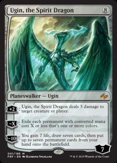 mtg Magic the Gathering Ugin, the Spirit Dragon mythic rare colorless planeswalker card Fate Reforged