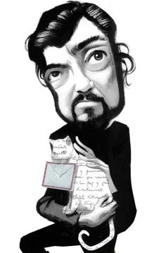 Cortázar Caricatures, Edgar Poe, Marguerite Duras, Celebrity Dogs, Cat Art, Illustration Art, Celebrities, Drawings, Writers