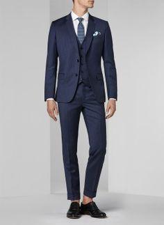 Night Blue Costume – Tennis Stripe / 31 – Men's Slim Suit by tianath Slim Suit, Slim Man, Costume Bleu Marine, Costume Slim, Gilet Costume, Blue Costumes, Mens Suits, Marie, Suit Jacket