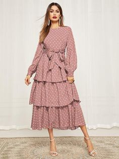 To find out about the Bishop Sleeve Belted Layered Polka Dot Dress at SHEIN, part of our latest Dresses ready to shop online today! Modest Dresses, Modest Outfits, Stylish Dresses, Pretty Dresses, Dress Outfits, Casual Dresses, Summer Dresses, Beige Dress Outfit, Abaya Fashion