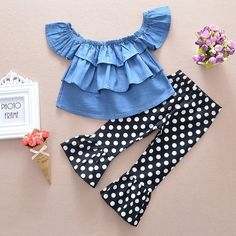 Stylish Off Shoulder Denim T-shirt and Polka Dot Pants Set for Baby Girl