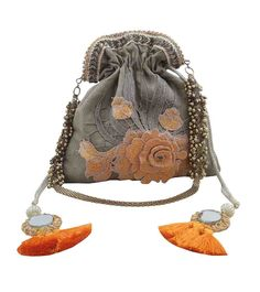 A quintessential brand of handcrafted bags and clutches, Arancia is the brainchild of Mumbai based designer Payal Shah. Indian Accessories, Bridal Clutch, Party Bags, Embroidered Silk, Bucket Bag, Arms, Candy, Touch, Wallet