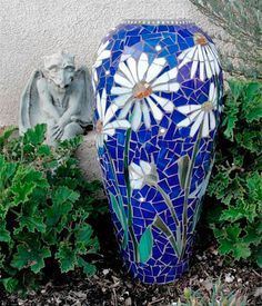 ScallonArt - available mosaic pieces - blue vase decorated with jewels and blue stained glass