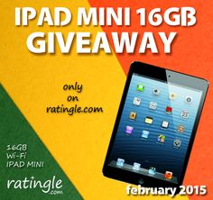 February Ipad Giveaway: Win an Apple Ipad Mini 16GB this month here: http://ratingle.com/giveaway/ It's fun and fast to compete, click to enter!