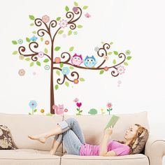 New Design Colorful Owl Big Tree Animal Garden Wall Stickers Removable Wall Decal Sticker for Girls and Boys Nursery Room Decor