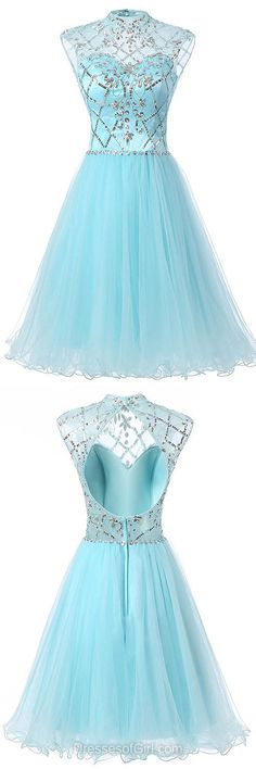 High Neck Homecoming Dresses, Beading Summer Dress, Open Back Party Gowns, Blue Prom Dresses, Cute Cocktail Dress