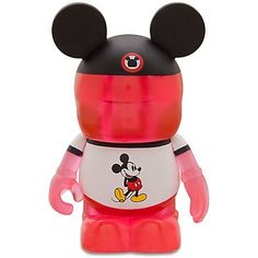 """Disney Exclusive 3"""" VINYLMATION TRANSLUCENT CLEAR RED MICKEY with Mickey Mouse Ringer T-Shirt and MOUSE EARS Theme Park Favorites Series Disney"""