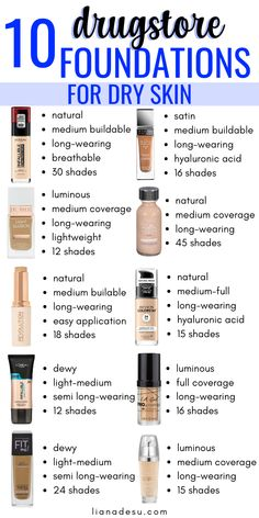 The 10 Best Drugstore Foundations for Dry Skin in Stay Hydrated All Day Finding the right foundation for your skin type can be tough, right? I know the struggle! If you have dry skin, this post is for you! I'm sharing the best drugstore radiant, lumi Primer For Dry Skin, Best Foundation For Dry Skin, Best Drugstore Foundation, Mask For Dry Skin, Oil For Dry Skin, Lotion For Dry Skin, Drugstore Makeup Dupes, How To Apply Foundation, Moisturizer For Dry Skin