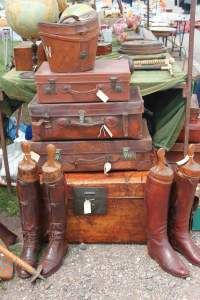 Antique suitcases at English 'boot' sale (antiques sale)-sam must have a pair of antique boots!