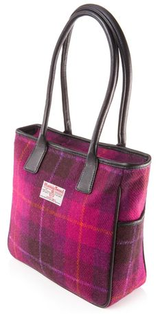 Becca Harris Tweed And Leather Handbag In Cerise Check