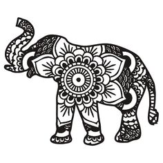 'Mandala Elephant Black' T-Shirt von laurauroraa – cricut - Malvorlagen Mandala Adult Coloring Pages, Mandala Coloring Pages, Mandalas Painting, Mandalas Drawing, Cliparts Free, Elefante Hindu, Elephant Coloring Page, Design Tattoo, Marquesan Tattoos