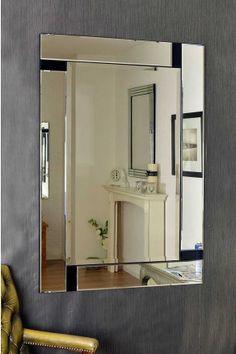 Silver Edge Venetian Mirror With Small, Simple Black Detailing Near Each  Corner, Will Add
