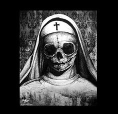 Print 8x10  Sister  Nun Skull Skeleton Bones Dark Art by chuckhodi, $10.00