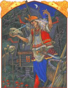 BABA YAGA - (Баба-яга) is one of the most ancient characters in Slavic mythology. Her image draws closer to the image of a common witch but however Baba-Yaga is a creature much more dangerous and powerful than any witch. Baba Yaga, Supernatural Beings, Moon Goddess, Gods And Goddesses, Conte, Dark Fantasy, Folklore, Fairy Tales, Old Things