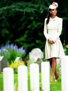 ready4royalty:  World War I Centenary, St. Symphorien Military Cemetery, Mons, Belgium-August 4, 2014-The Duchess of Cambridge wore an Alexander McQueen coat dress accessorized with Jane Taylor Fleur-Ruffle Beret, L.K. Bennett Slede pumps, Kiki McDonough Anoushka pearl earrings, and grey McQueen clutch.