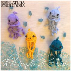 Portachiavi meduse #handmade #amigurumi #crochet realizzati con filato Zara, Brilla e Zarina Filatura di Crosa