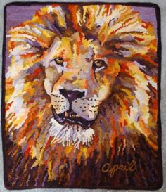 Hooked rugs: Jonathan the Lion by April D. DeConick April's rugs are always even better than photos can show! Color flow together beautifully