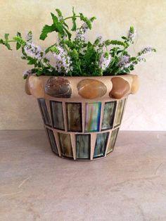 Mosaic planter flower pot handmade herb pot by moZEHicDesigns