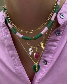 Cute Jewelry, Beaded Jewelry, Jewelry Accessories, Beaded Necklace, Colar Mix, Bling, Accesorios Casual, Summer Jewelry, Mode Outfits
