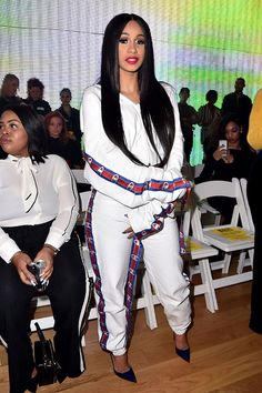 Cardi B attends the VFile fashion show (REX/Shutterstock)