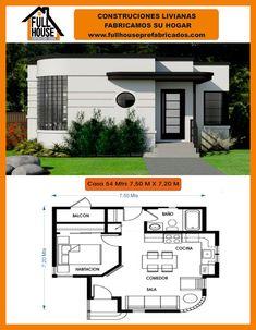Full House Prefabricados Bungalow House Design, Small House Design, Best House Plans, Modern House Plans, Good House, Home Design Plans, Floor Plans, How To Plan, Campsite