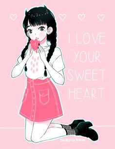 I love your sweet heart ♥ I promise to eat it gently Valentine's Sweet Heart Art Print
