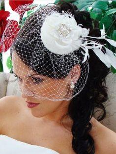 Amazon.com: Bridal Hat and Bird Cage Veil - IVORY: Beauty