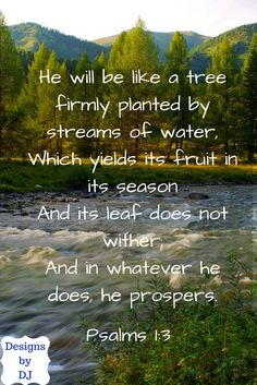 """Inspirational quote from Psalms 1. Taken from the NASB Bible. """" He will be like a tree firmly planted by streams of water. Which yields its fruit in its season. And its leaf does not wither; and in whatever he does he prospers."""""""