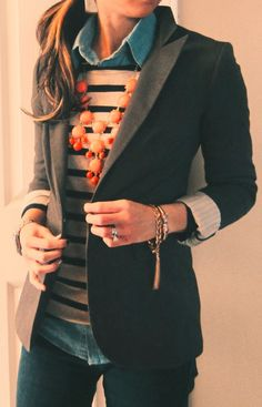 RUNWAY+FASHION:+Navy+Shirt+,Stripe+Sweater+With+Black+Coat+And+Ado...