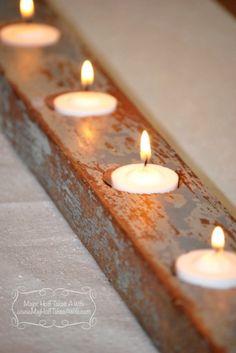 DIY rustic barnwood candle holder