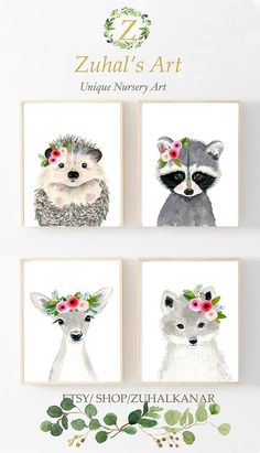 Baby animals Lets make your little ones room warm and enjoyable! This baby animal collection features a set of 4 prints from my watercolor art collection. The colors are rich and vibrant and the print looks so much better in real life. Materials: Printed on beautiful high quality,