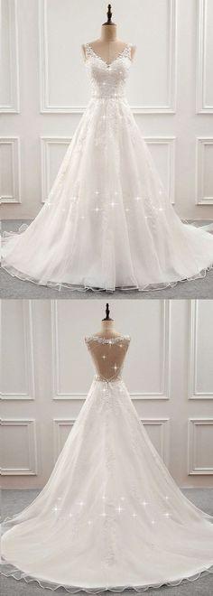 Open Back Wedding Dress, Wedding Dresses With Straps, Wedding Dress Train, Classic Wedding Dress, Modest Wedding Dresses, Cheap Wedding Dress, Bridal Dresses, Lace Wedding, Trendy Wedding