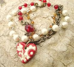 Pearl Red Golden Bronze Golem Artisan Heart by kristibasket, $34.00