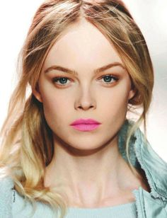 Love this soft colour skin tone with a brighter hue lipstick - natural yet standout look