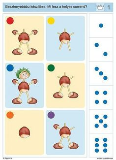 Kaštany Logic Games, Logic Puzzles, Kindergarten, Sequencing Cards, First Grade, Speech Therapy, Kids Learning, Worksheets, Homeschool
