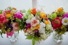 Bouquets Flowers Bride Bridal Bridesmaids Vibrant Quirky Colourful Spring London Wedding http://www.ireneyapweddings.com/