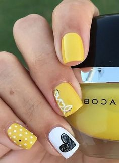 62 Most Beautiful And Lovely Yellow Color Nails Inspirational Ideas For Prom And Wedding - Page 41 of 63 - Coco Night Nails Only, Love Nails, Pretty Nails, Fun Nails, Gorgeous Nails, Square Acrylic Nails, Summer Acrylic Nails, Acrylic Nail Art, Summer Holiday Nails